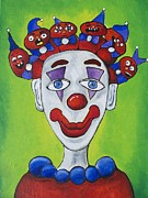 Amusements Prints - Miss.Curly Clown Print by Patricia Arroyo