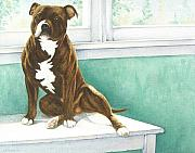 Staffie Posters - Missing You Poster by Lesley McVicar