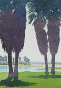 California Mission Framed Prints - Mission Bay Park with Palms Framed Print by Mary Helmreich