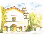 Landmarks Painting Framed Prints - Mission San Juan Bautista - California Framed Print by Carlos G Groppa