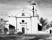 Roman Mixed Media Framed Prints - Mission San Luis Rey BW Blue Framed Print by Kip DeVore