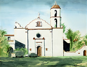 Catholic Mixed Media Framed Prints - Mission San Luis Rey Colorful II Framed Print by Kip DeVore