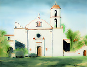 Structure Mixed Media Posters - Mission San Luis Rey Dreamy Poster by Kip DeVore
