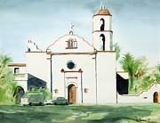Roman Mixed Media Framed Prints - Mission San Luis Rey  Framed Print by Kip DeVore