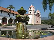 Fontain Posters - Mission Santa Barbara And Fountain Poster by Christiane Schulze
