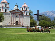 California Mission Framed Prints - Mission Santa Barbara Framed Print by Methune Hively