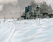 Montana Paintings - Mission Valley Farmstead by John Wyckoff