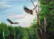 Patriotic Paintings - Mississippi Backwater Eagles by Alvin Hepler