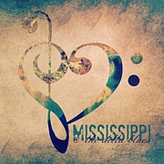 Music Map Posters - Mississippi Blues Poster by Brandi Fitzgerald