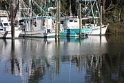Reflections In Water Prints - Mississippi Boats Print by Carol Groenen