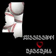 Mississippi Map Prints - Mississippi Loves Baseball Print by Andee Photography