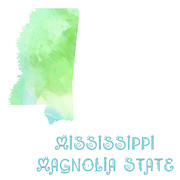 Mississippi Map Prints - Mississippi - Magnolia State - Map - State Phrase - Geology Print by Andee Photography