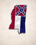 Mississippi State Map Digital Art - Mississippi Map Art with Flag Design by World Art Prints And Designs