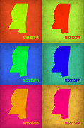 Mississippi Framed Prints - Mississippi Pop Art Map 1 Framed Print by Irina  March