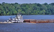Flooding Photos - Mississippi River Barge by Dan Sproul