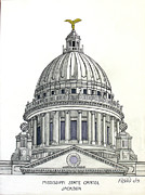 Historic Buildings Prints - Mississippi State Capitol Print by Frederic Kohli