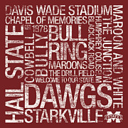 Cowbell Prints - Mississippi State College Colors Subway Art Print by Replay Photos