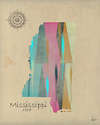 Mississippi State Map Digital Art - Mississippi state map by Brian Buckley