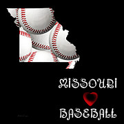 Baseball Art Digital Art Framed Prints - Missouri Loves Baseball Framed Print by Andee Photography