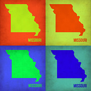 Missouri Metal Prints - Missouri Pop Art Map 1 Metal Print by Irina  March