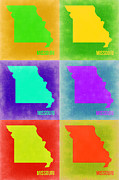 Missouri Metal Prints - Missouri Pop Art Map 2 Metal Print by Irina  March