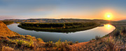 River Mist Photos - Missouri River Sunrise Panoramic by Leland Howard