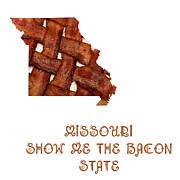 Cooking Ingredient Digital Art Posters - Missouri - Show Me The Bacon - State Map Poster by Andee Photography