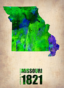 Map Art Digital Art Prints - Missouri Watercolor Map Print by Irina  March