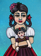 Mexican Art Painting Originals - Missy Holding Frida by Victoria De Almeida