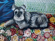 Miniature Schnauzer Paintings - Missy Version 2 by Sheila Diemert