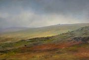 Misty. Pastels Posters - Mist descending over Links Tor Poster by James R C Martin
