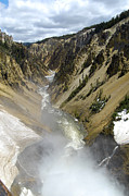 Beauty In Nature Prints - Mist from Lower Falls Looking down the Yellowstone River in Grand Canyon of the Yellowstone Print by Shawn OBrien