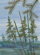 Robert Meszaros Painting Prints - Mist In The Marsh Print by Robert Meszaros
