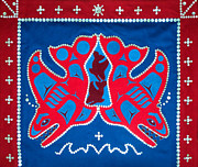 Northwest Tapestries - Textiles - Mistamekwak - Whales - Northern Cree  by Chholing Taha