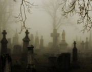 Spooky  Digital Art - Misted Fog Graveyard by Gothicolors And Crows
