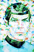 Spock Framed Prints - MISTER SPOCK  watercolor portrait Framed Print by Fabrizio Cassetta