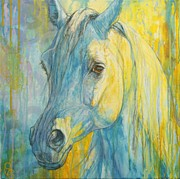 Arabian Horse Paintings - Misterious Blues by Silvana Gabudean