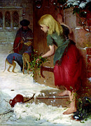 Christmas Dogs Posters - Mistletoe Seller Poster by Samuel Edmund Waller