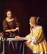 Talking Painting Prints - Mistress And Maid Print by Johannes Vermeer