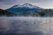Mount Shasta Posters - Mists on Siskiyou Lake Poster by Greg Nyquist