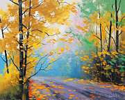 Foliage Paintings - Misty Autumn Day by Graham Gercken