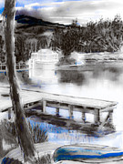 Canoe Mixed Media Prints - Misty Blue Print by Kip DeVore
