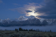 Moon Set Prints - Misty Blue Persuasion Print by Idaho Scenic Images Linda Lantzy
