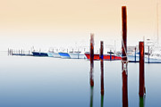 Abstract Art Prints Digital Art Framed Prints - Misty Boats on the Outer Banks I Framed Print by Dan Carmichael