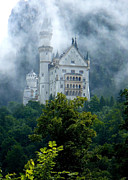 Castle On Mountain Prints - Misty Castle Print by Carol Groenen