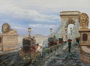 Impressionistic Horse Paintings - Misty Chain Link Bridge by Tracey Peer