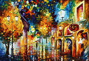 Leonid Afremov Art - Misty City Mood New by Leonid Afremov