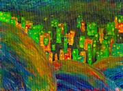 Luciana Raducanu Art - Misty City over the hills colorful painting by Luciana Raducanu