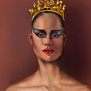 Superstar Painting Posters - Misty Copeland  As The Black Swan Poster by Reggie Duffie