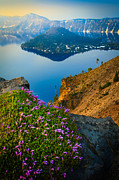 Deep Color Flower Posters - Misty Crater Lake Poster by Inge Johnsson